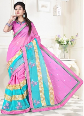 Pink and Turquoise Contemporary Saree