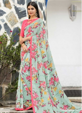 Pink and Turquoise Designer Contemporary Saree