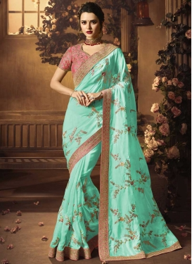 Pink and Turquoise Traditional Designer Saree