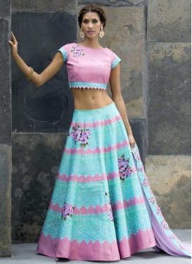 Pink and Turquoise Trendy Lehenga For Ceremonial