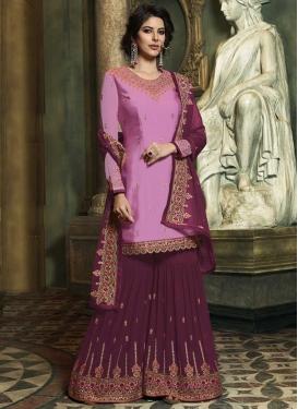Pink and Wine Sharara Salwar Kameez