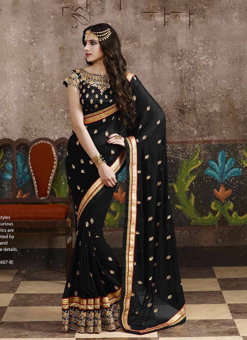 Piquant Black Color Lace Work Designer Saree