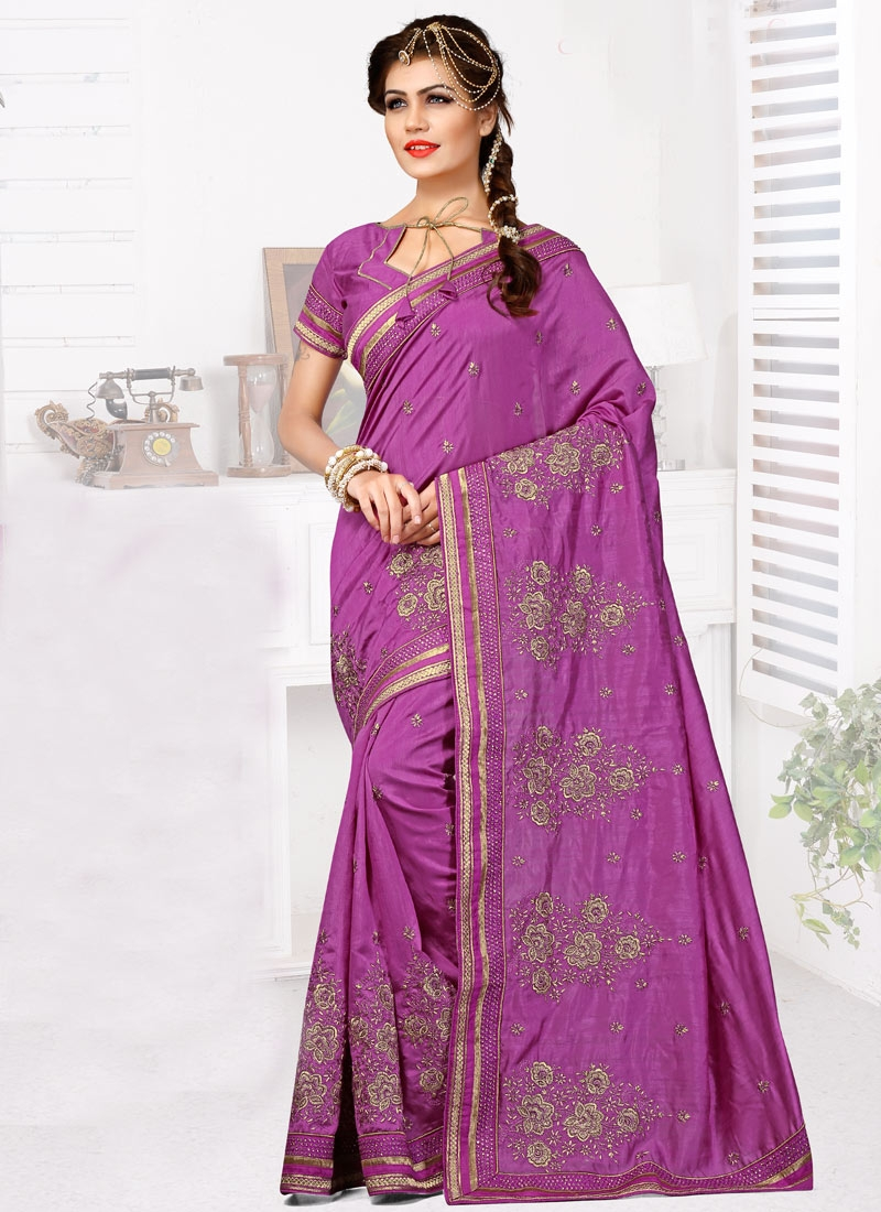 Piquant Booti Work Violet Color Designer Saree