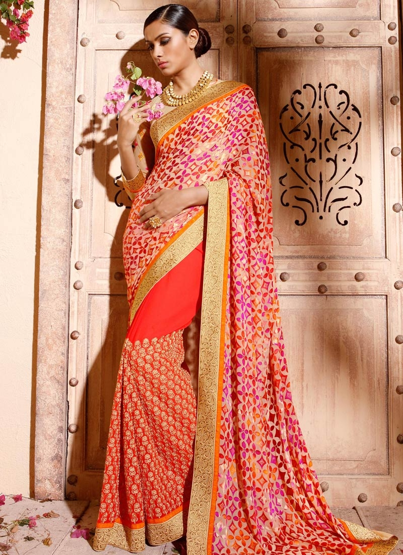 Piquant Brasso Lace Work Half N Half Party Wear Saree