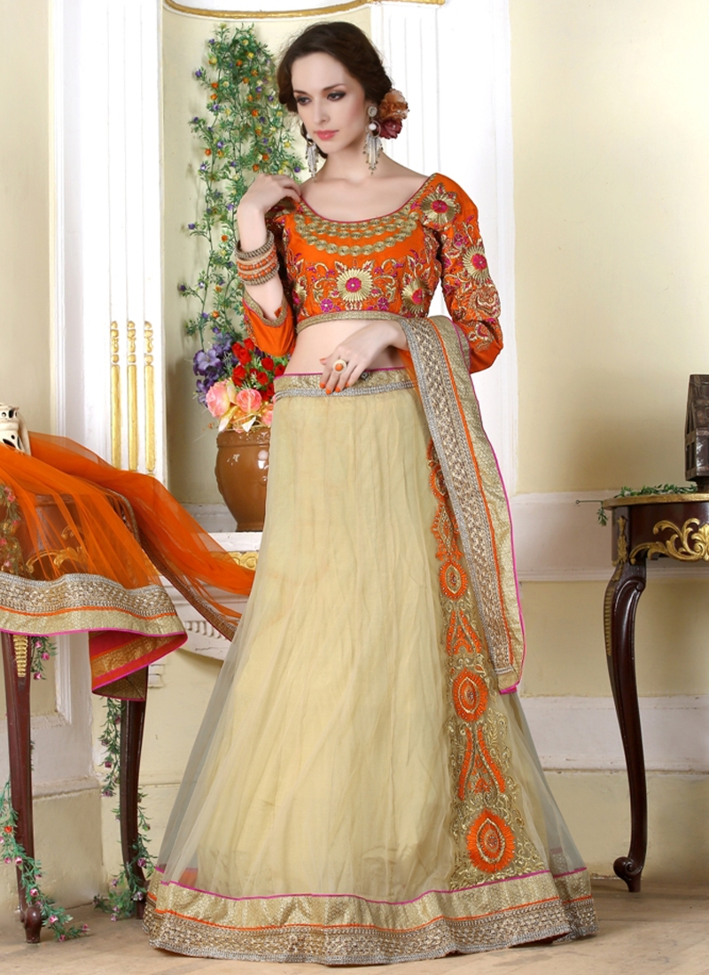 Piquant Cream And Orange Color Party Wear Lehenga Choli