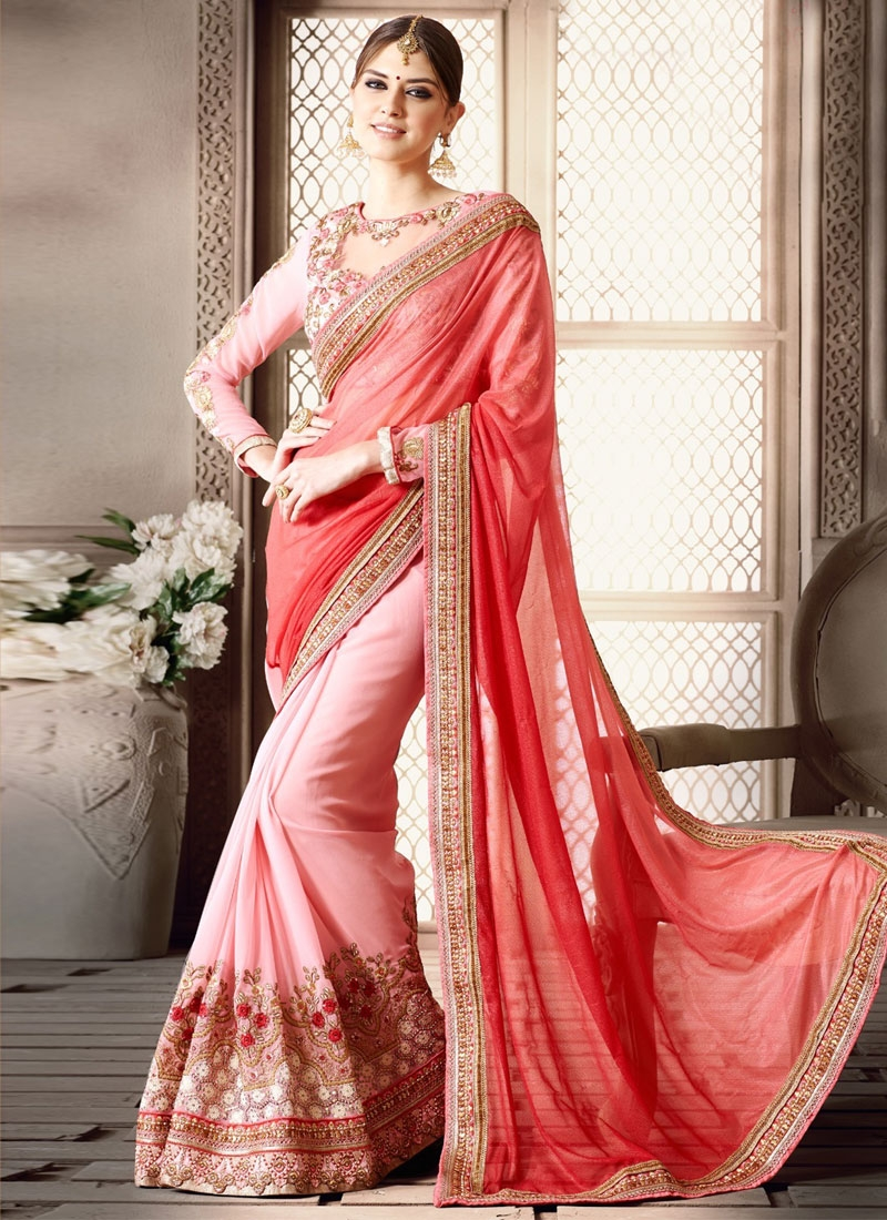 Piquant Embroidery Work Half N Half Wedding Saree