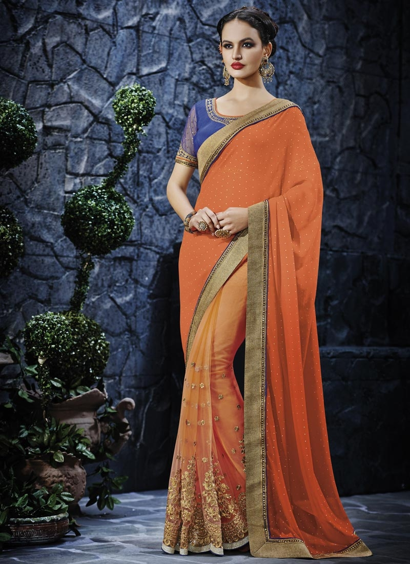 Piquant Embroidery Work Net Wedding Saree