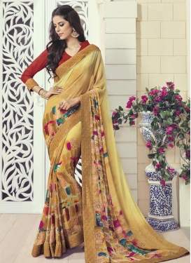 Piquant  Faux Georgette Digital Print Work Trendy Classic Saree