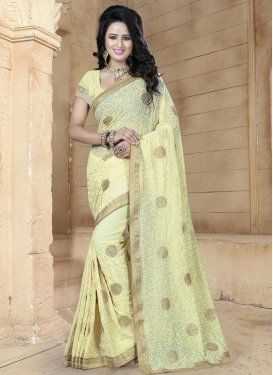 Piquant Faux Georgette Trendy Classic Saree For Ceremonial