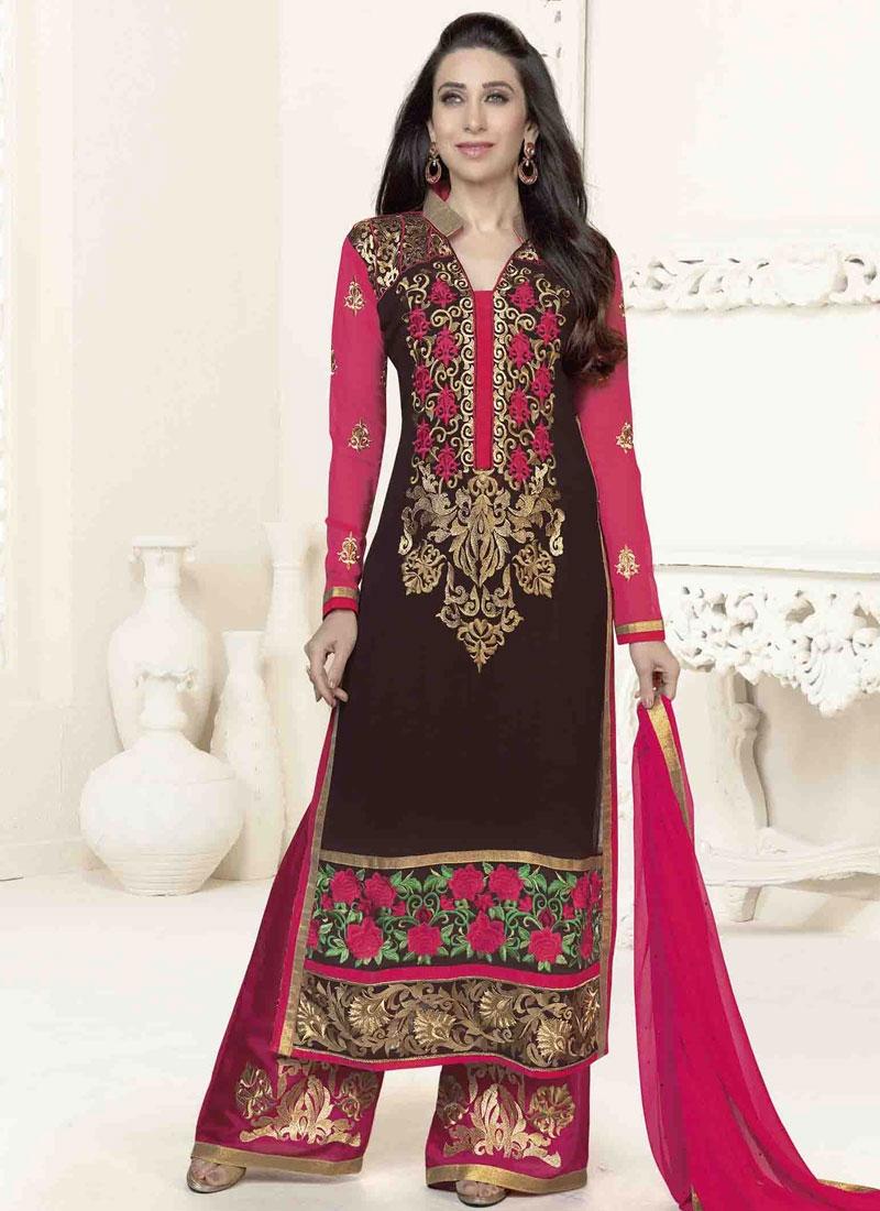 07e82f6ccc Piquant Floral And Booti Work Karisma Kapoor Pakistani Salwar Kameez