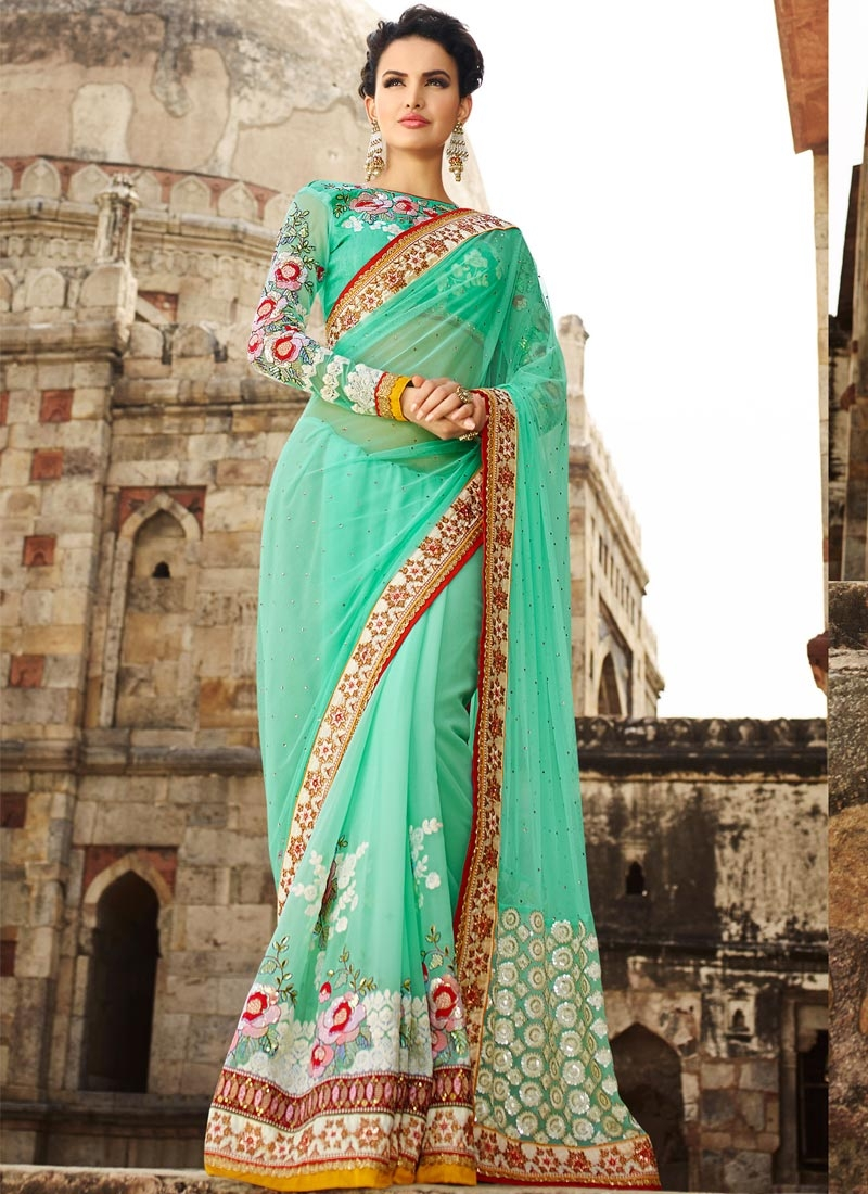 Piquant Floral And Sequins Work Wedding Saree