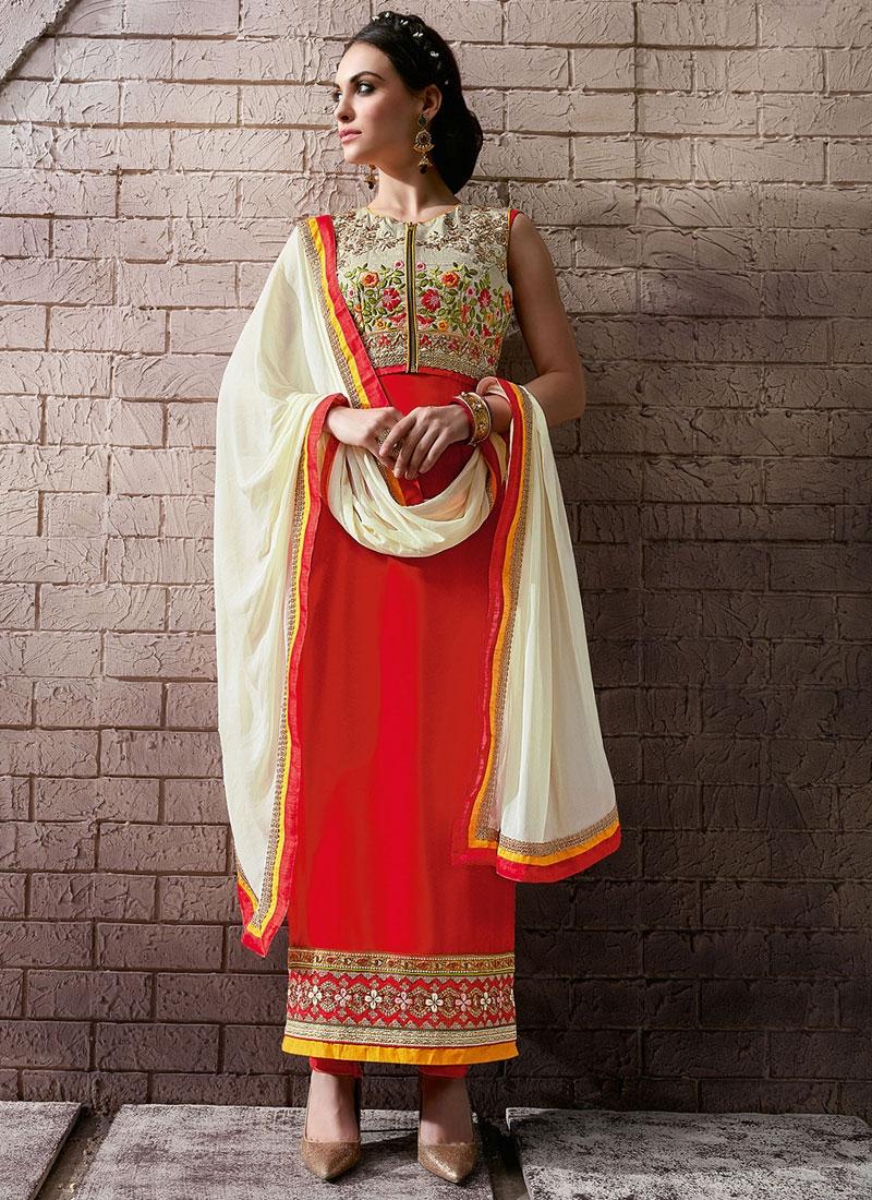 Piquant Floral Work Jacket Style Pakistani Salwar Kameez