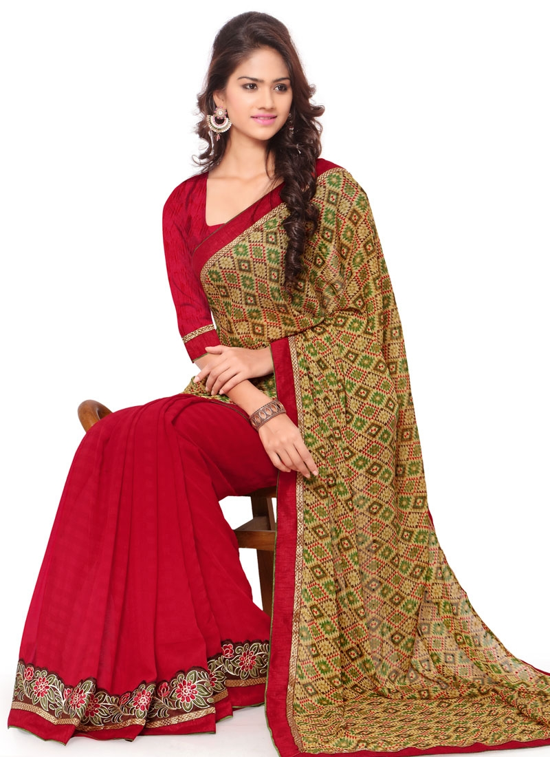 Piquant Lace Work Faux Chiffon Half N Half Casual Saree