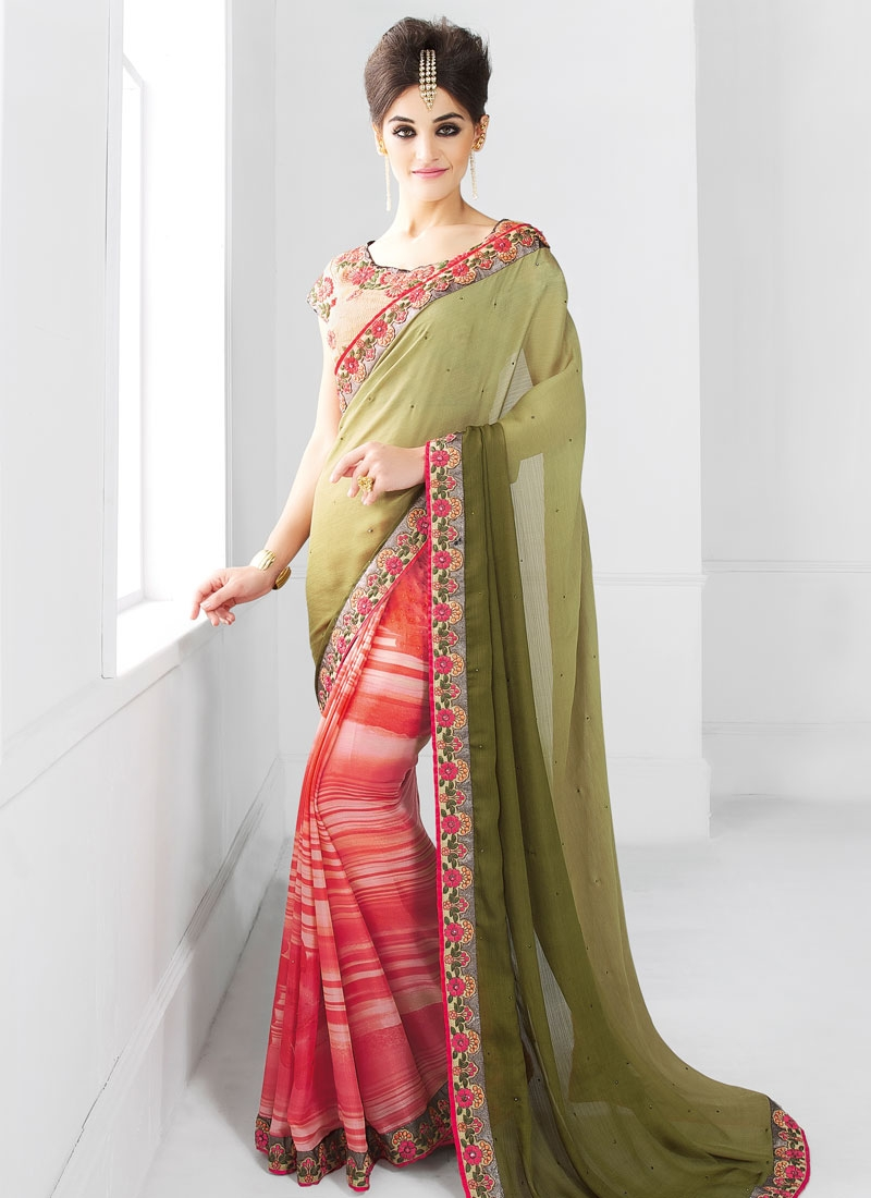Piquant Lace Work Half N Half Party Wear Saree