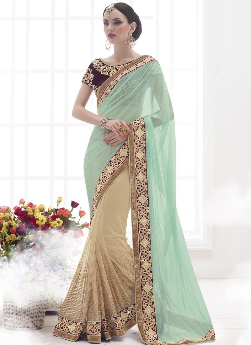 Piquant Lycra And Net Half N Half Wedding Saree