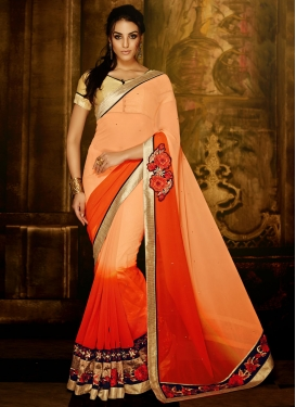 Piquant Patch Border And Stone Work Party Wear Saree