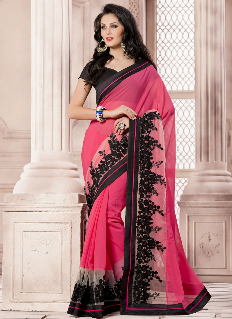 Piquant Patch Border Work Rose Pink Color Designer Saree