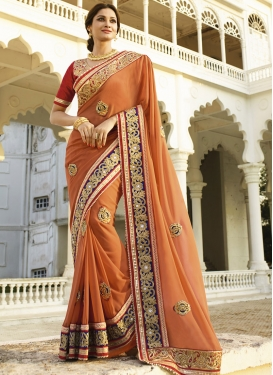 Piquant Pure Georgette Beads Work Designer Saree