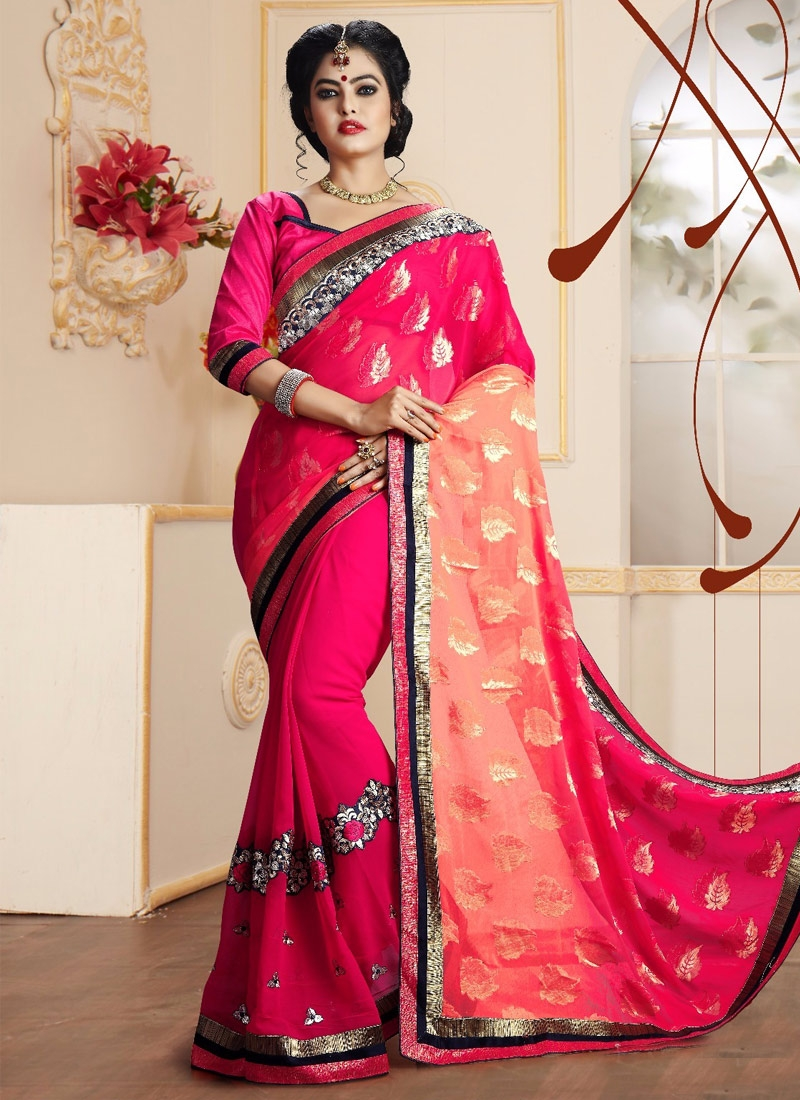 Piquant Resham Work Half N Half Party Wear Saree