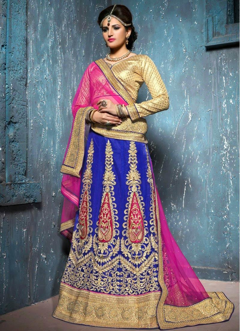 Piquant Sequins Work Blue Color Wedding Lehenga Choli