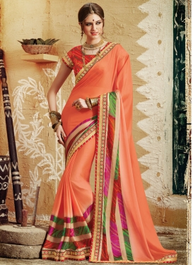 Piquant Silk Georgette Lace Work Party Wear Saree