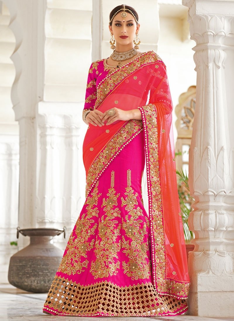 Piquant Stone And Resham Work Bridal Lehenga Saree