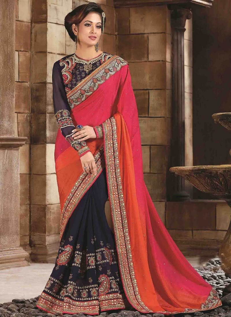 Piquant Stone Work Navy Blue Color Half N Half Wedding Saree