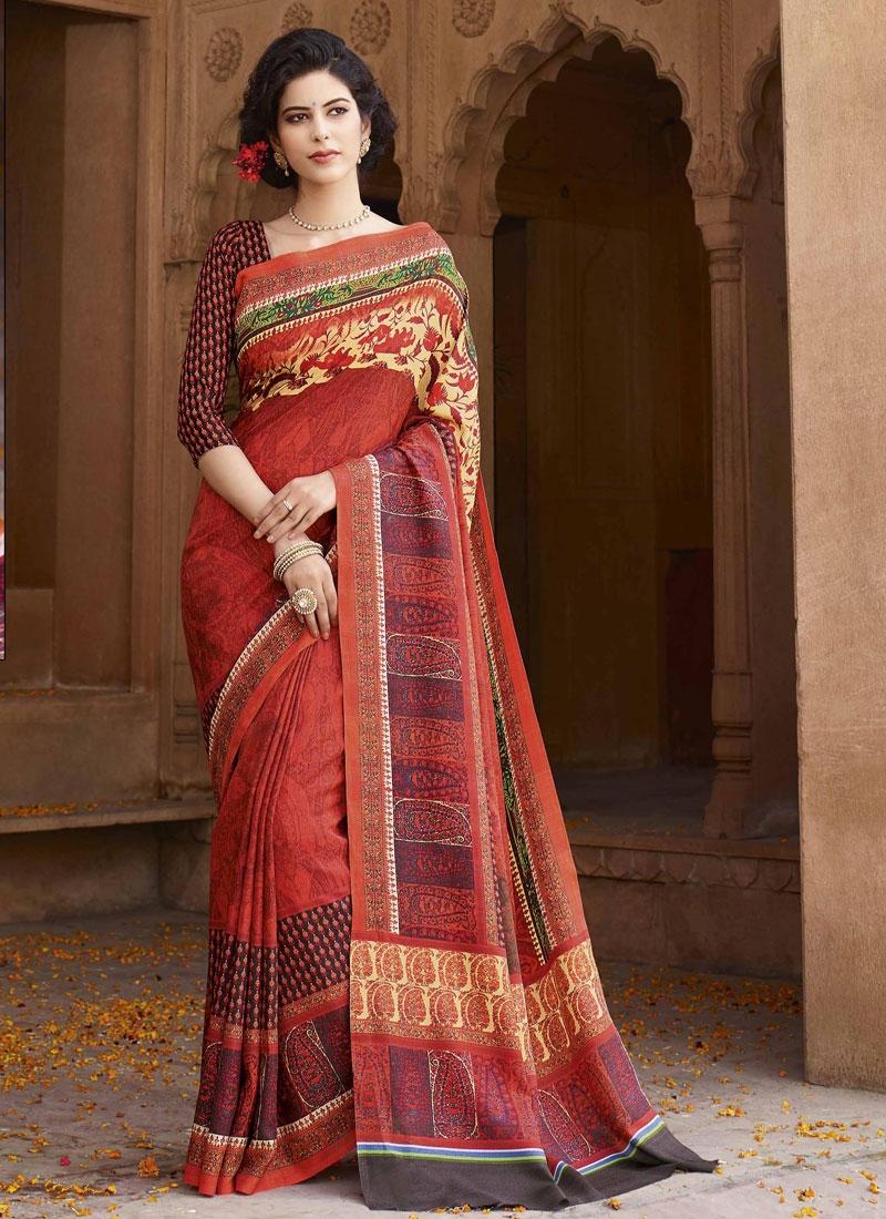 Pleasance Art Silk Red Color Casual Saree