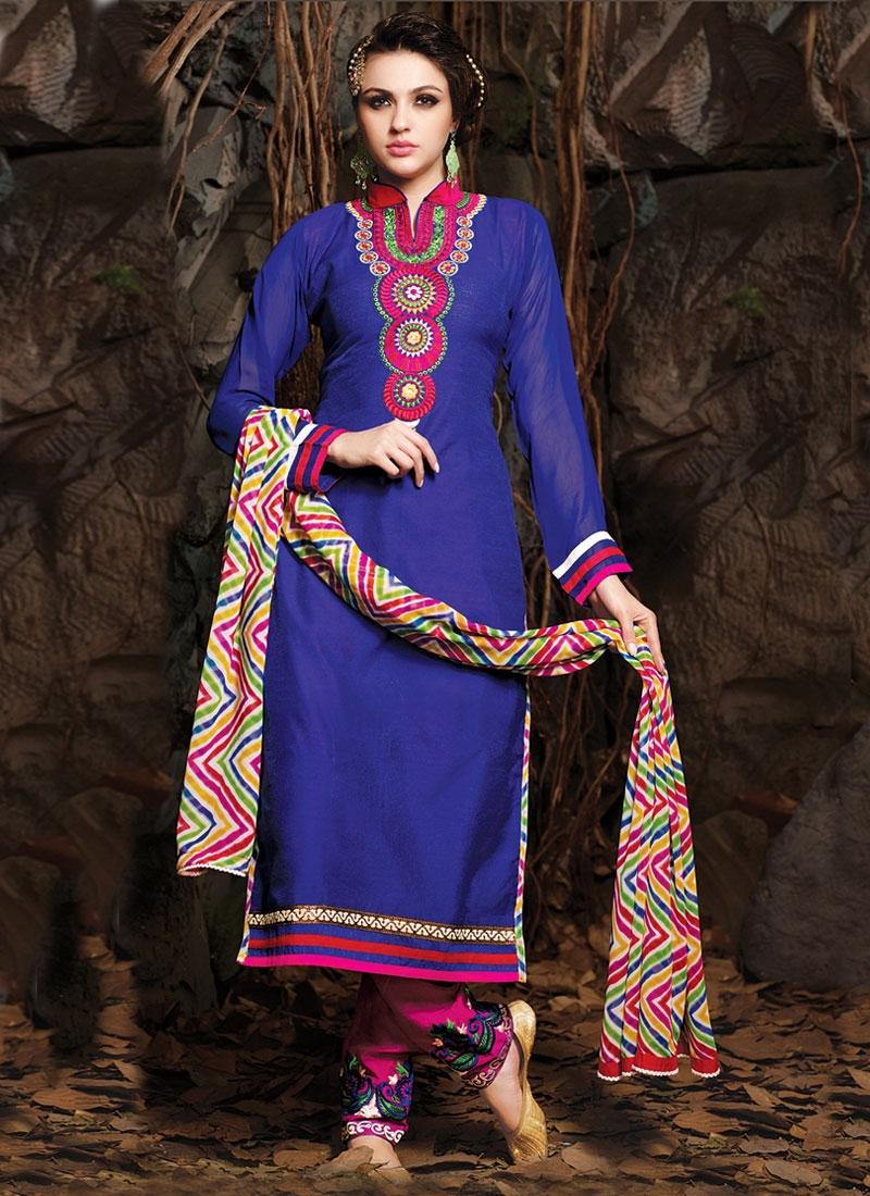 Pleasance Blue Color Lace Work Casual Suit