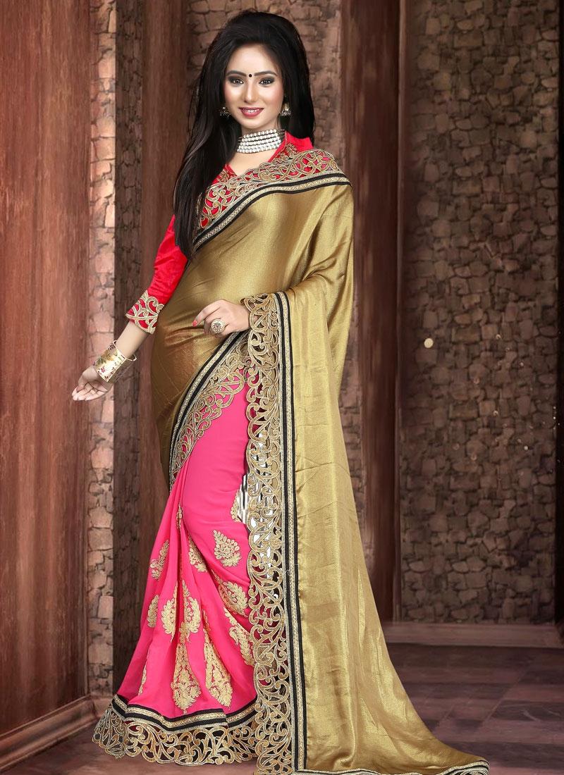Pleasance Booti Work Half N Half Designer Saree