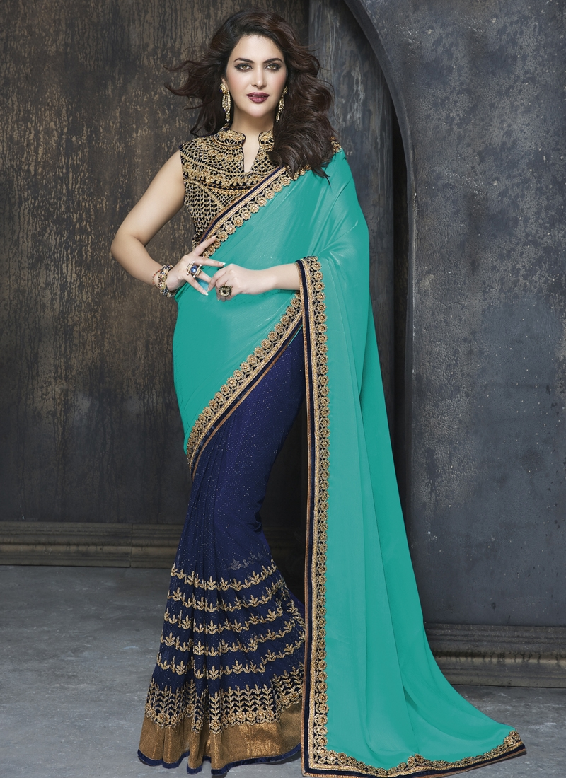Pleasance Chiffon Satin And Net Half N Half Wedding Saree