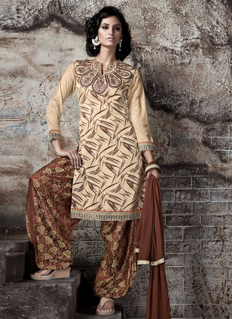 Pleasance Cream Color Lace Work Patiala Style Punjabi Salwar Kameez