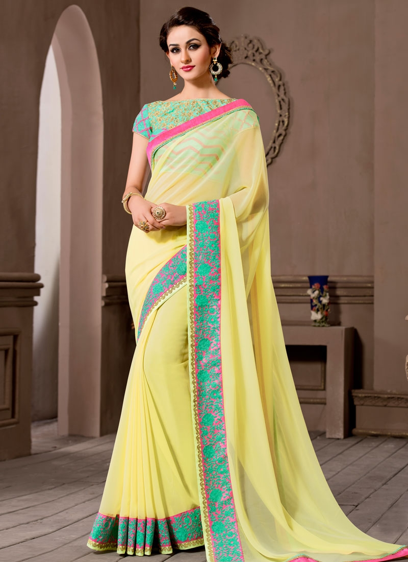 Pleasance Cream Color Pure Georgette Party Wear Saree