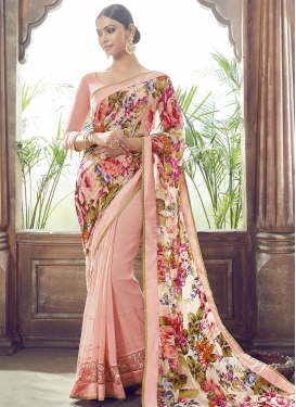 Pleasance Digital Print Work Half N Half Party Wear Saree
