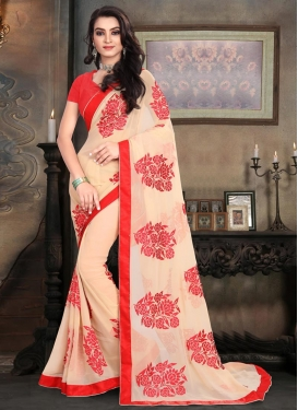 Pleasance Embroidered Work Faux Georgette Traditional Saree For Ceremonial