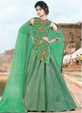 Pleasance Embroidered Work Sea Green Designer Long Choli Lehenga