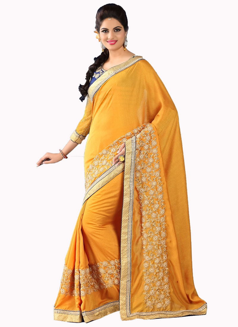 Pleasance Embroidery Work Faux Crepe Party Wear Saree