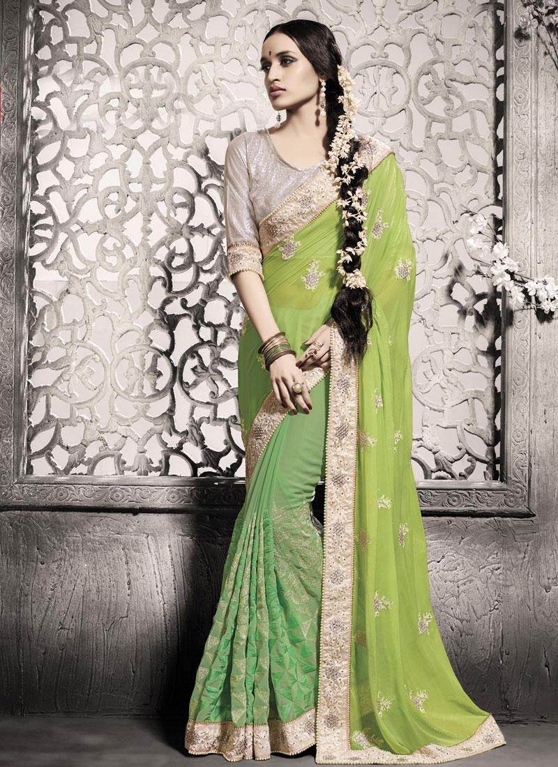 Pleasance Faux Chiffon Resham Work Designer Saree