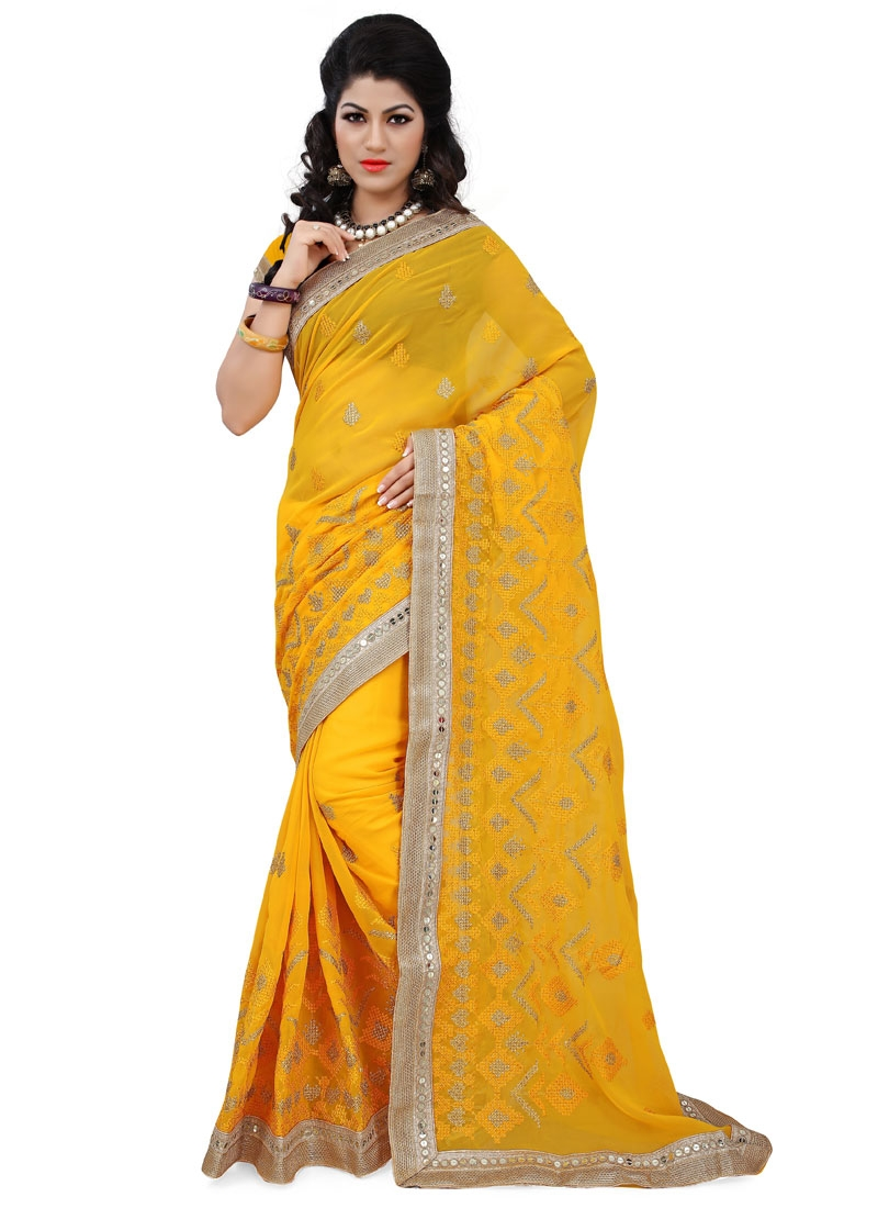 Pleasance Faux Georgette Resham Work Party Wear Saree