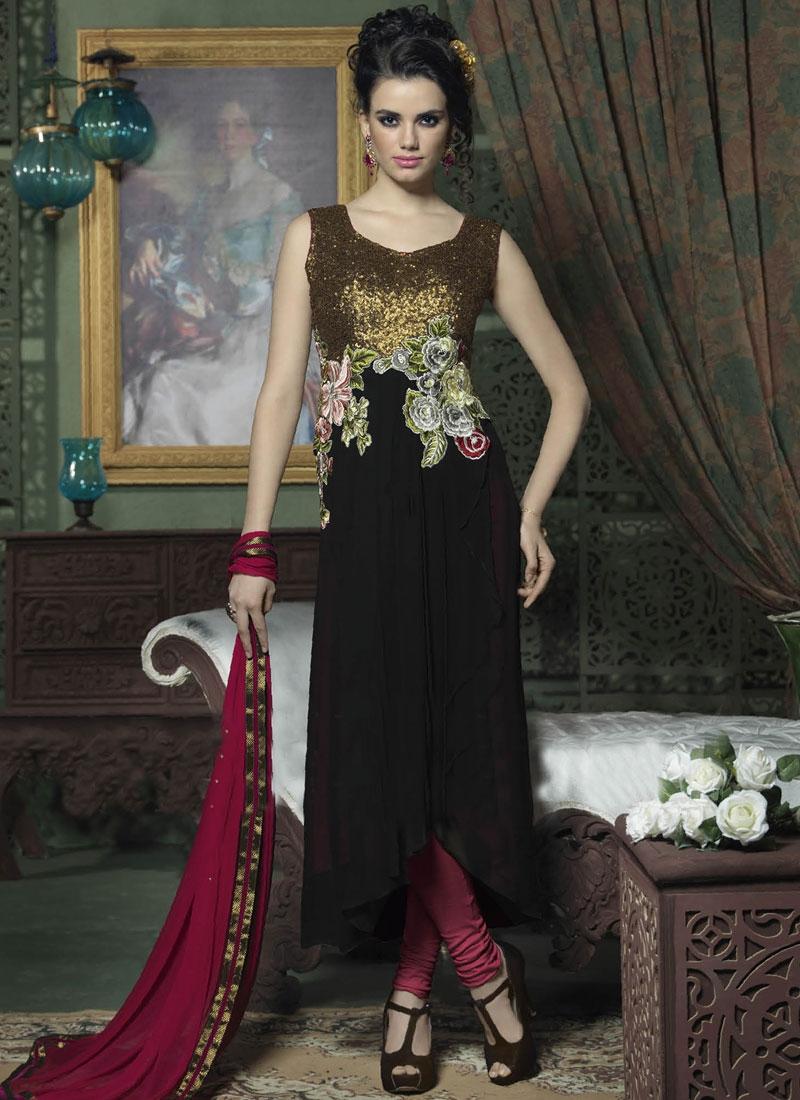 Pleasance Floral And Sequins Work Designer Salwar Kameez