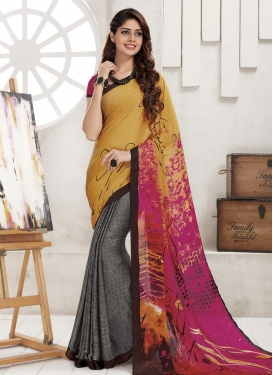 Pleasance Gold and Grey Half N Half Trendy Saree For Casual
