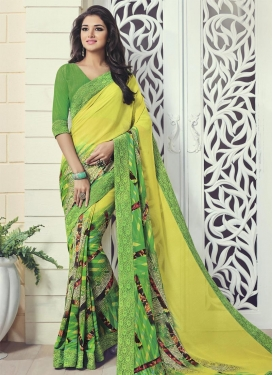 Pleasance  Green and Yellow Faux Georgette Trendy Saree