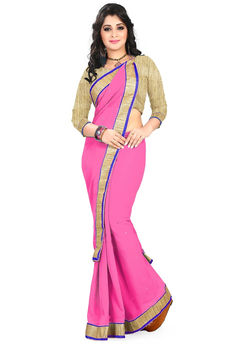 Pleasance Hot Pink Color Faux Georgette Casual Saree
