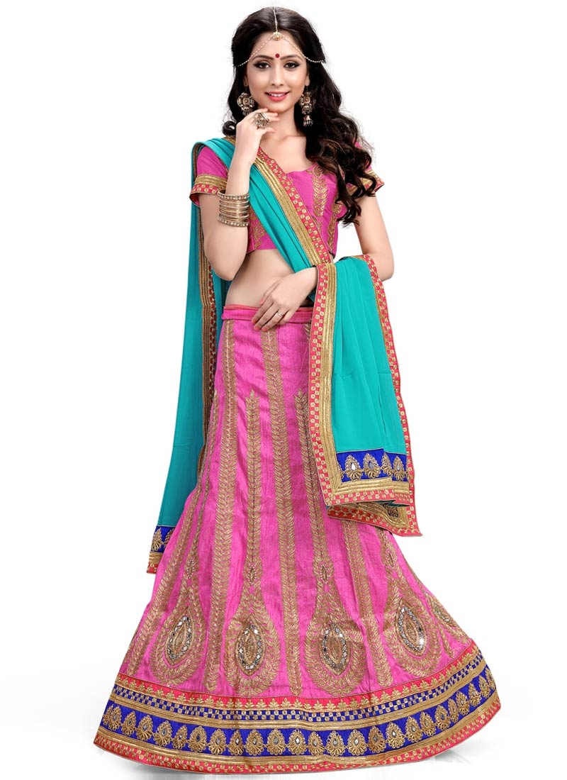 Pleasance Hot Pink Color Resham Work Designer Lehenga Choli