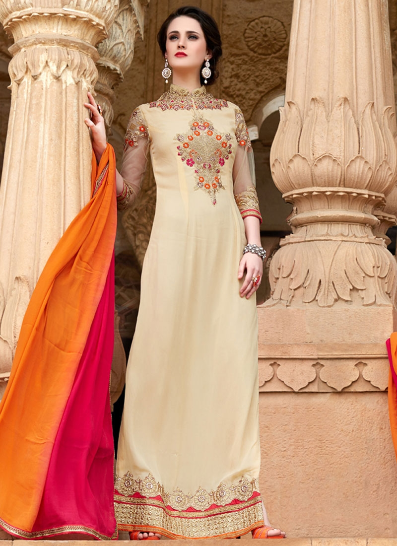 Pleasance Lace Work Cream Color Long Length Pakistani Salwar Suit