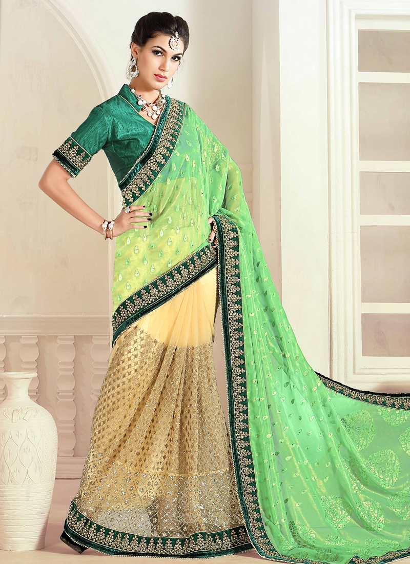 Pleasance Mint Green Color Half N Half Wedding Saree