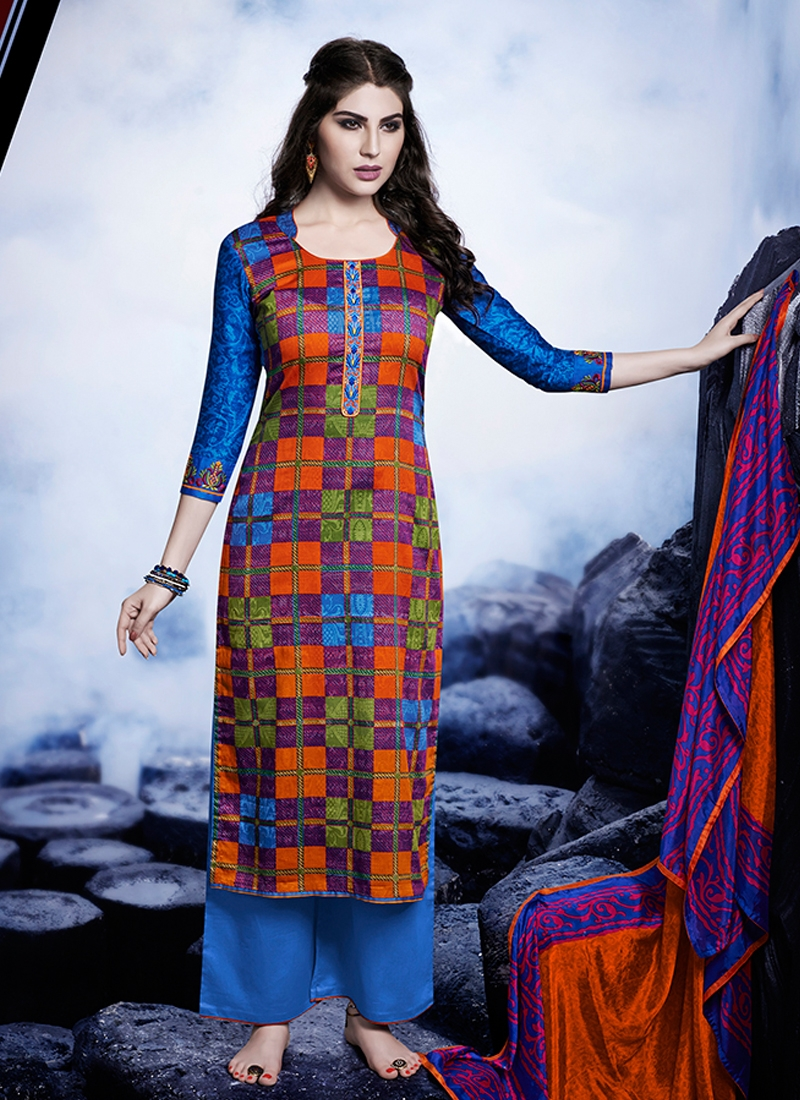 Pleasance Multi Color Palazzo Style Pakistani Suit