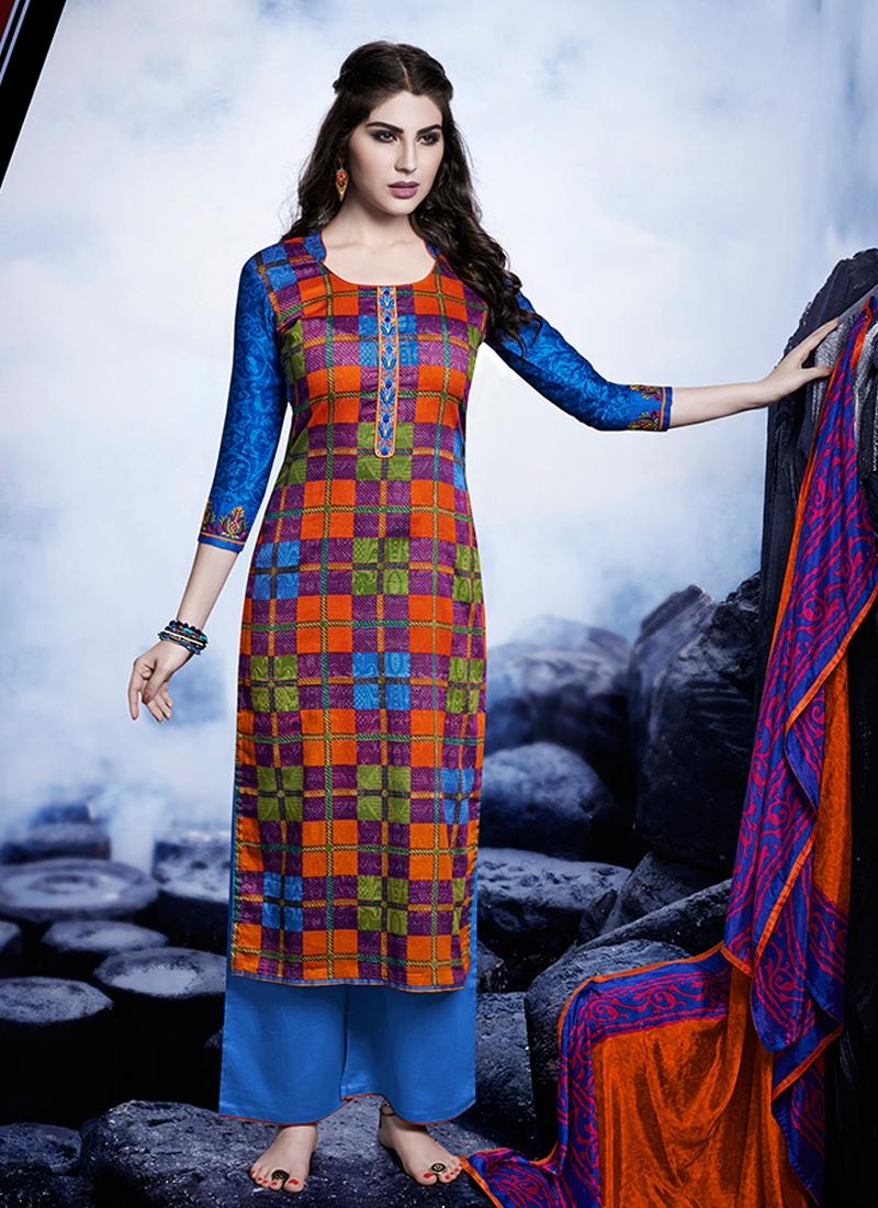Pleasance Multi Color Palazzo Style Pakistani Suit