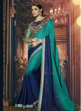 Pleasance Navy Blue and Sea Green  Contemporary Saree