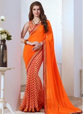 Pleasance Orange Color Lace Work Half N Half Party Wear Saree